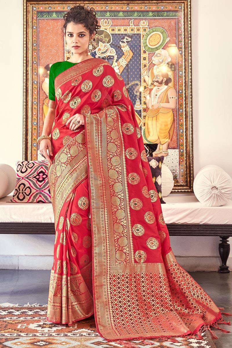 Banarasi Silk Fabric Sangeet Function Wear Designer Red Color Weaving Work Saree