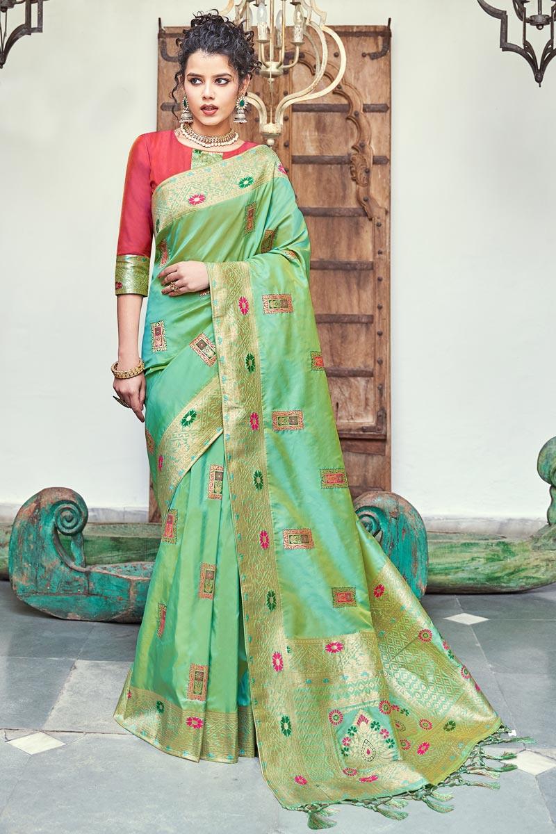 Sea Green Color Banarasi Silk Fabric Sangeet Function Wear Designer Weaving Work Saree