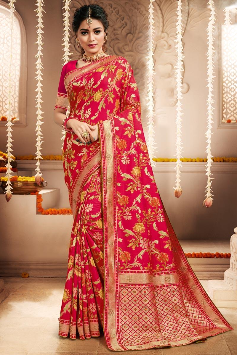 Banarasi Art Silk Fabric Rani Color Function Wear Weaving Work Saree