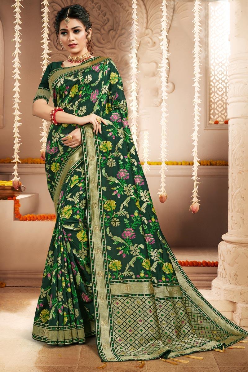 Party Wear Green Color Banarasi Art Silk Fabric Weaving Work Saree
