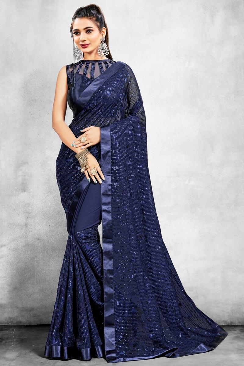 Navy Blue Color Georgette Fabric Fancy Sangeet Wear Saree