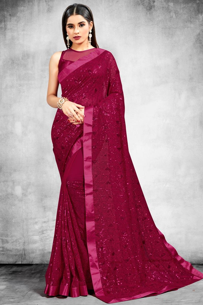 Georgette Fabric Rani Color Stylish Wedding Wear Saree
