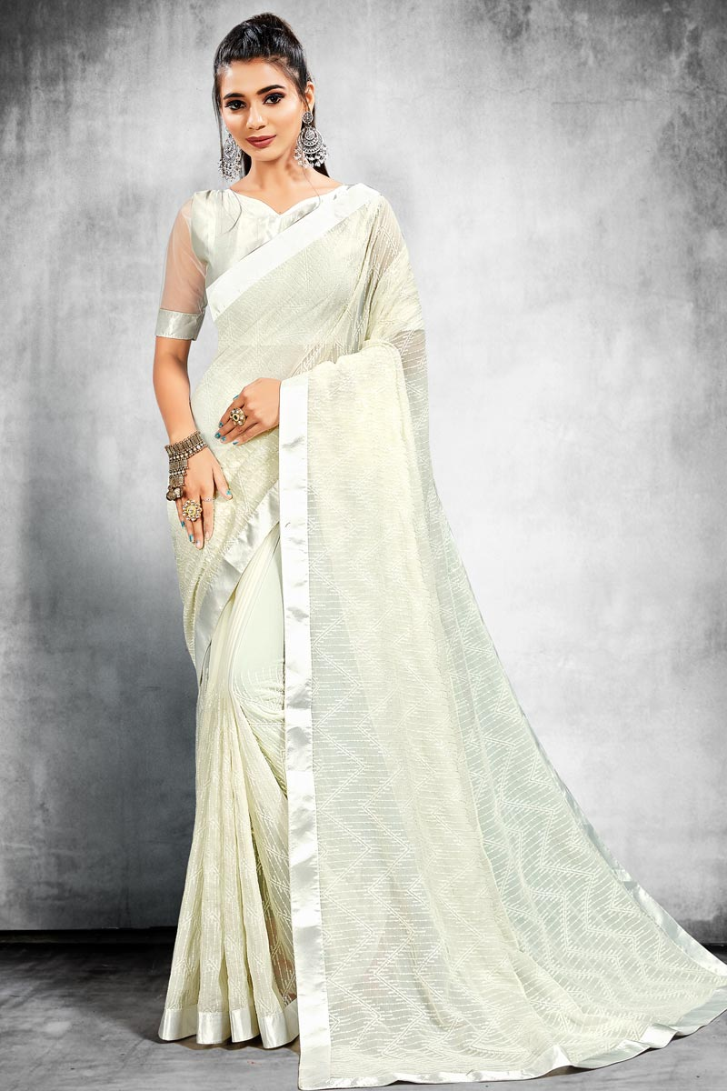 Trendy Off White Color Georgette Fabric Reception Wear Saree