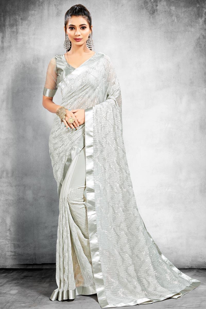 Sangeet Wear Grey Color Georgette Fabric Designer Saree