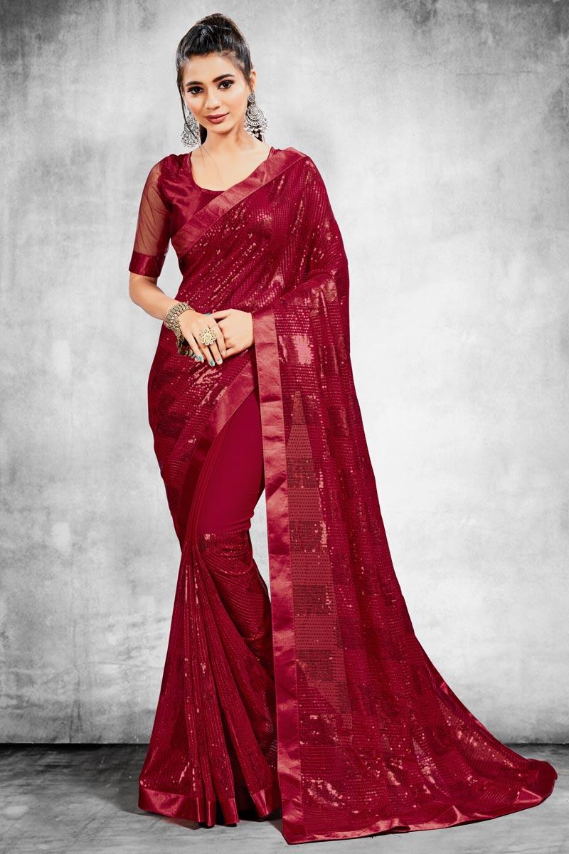 Georgette Fabric Fancy Wedding Wear Saree In Maroon Color