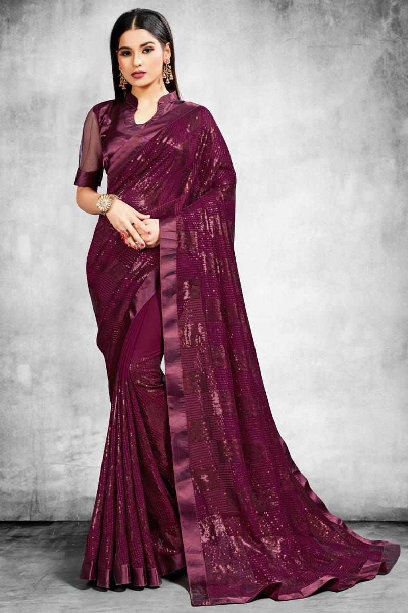 Wine Color Stylish Reception Wear Saree In Georgette Fabric