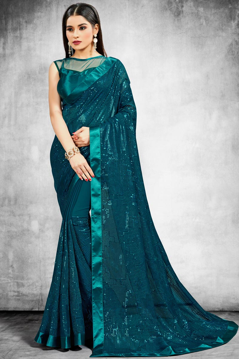 Trendy Sangeet Wear Saree In Teal Color Georgette Fabric