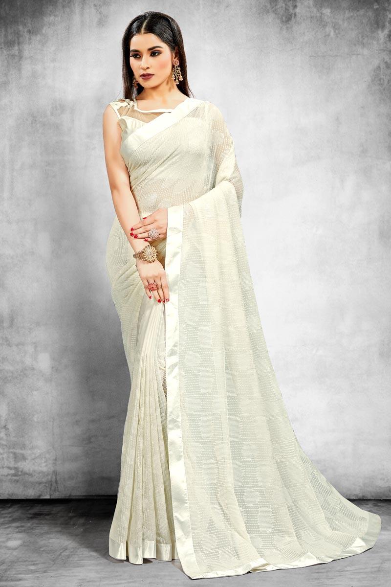 Off White Color Georgette Fancy Reception Wear Saree