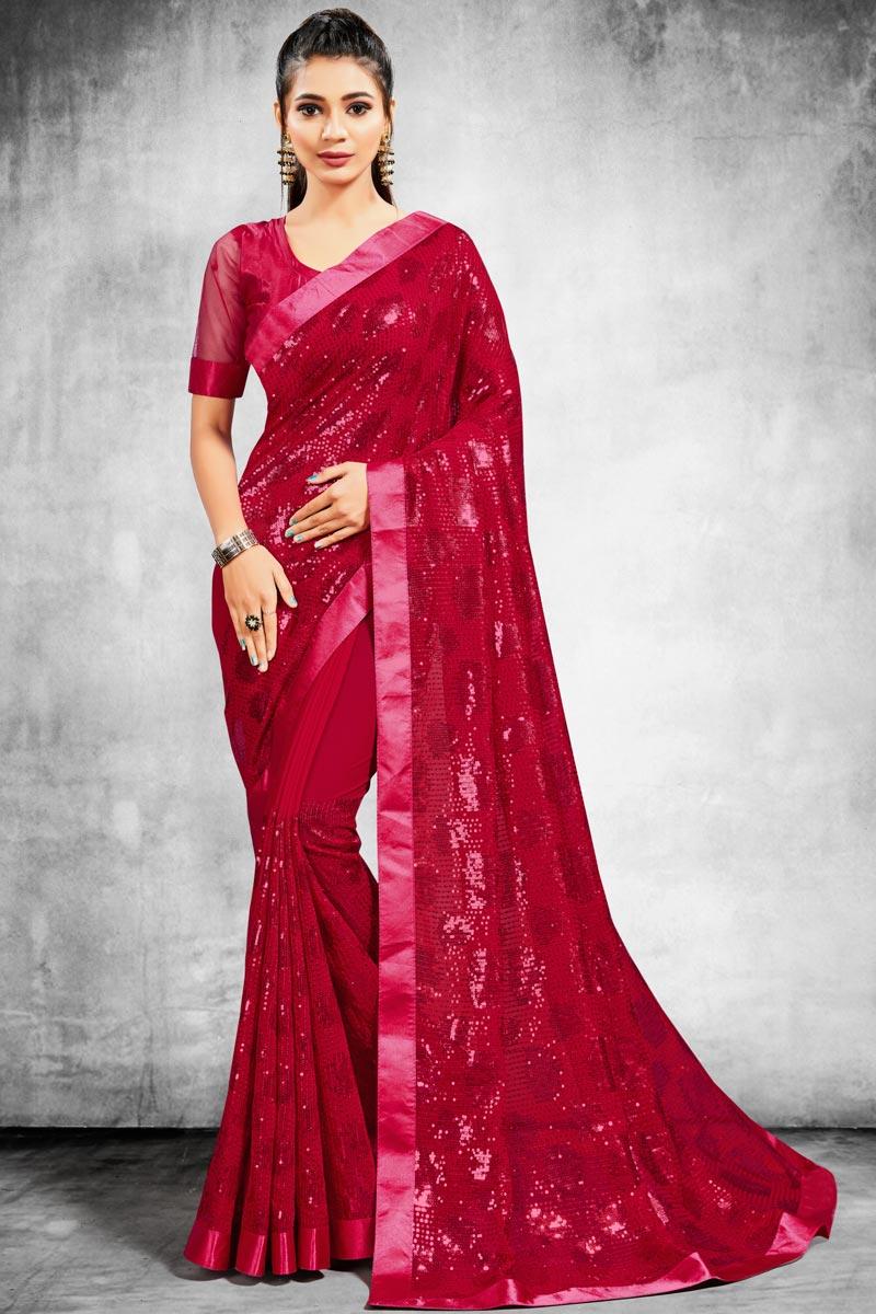 Rani Georgette Stylish Sangeet Wear Saree