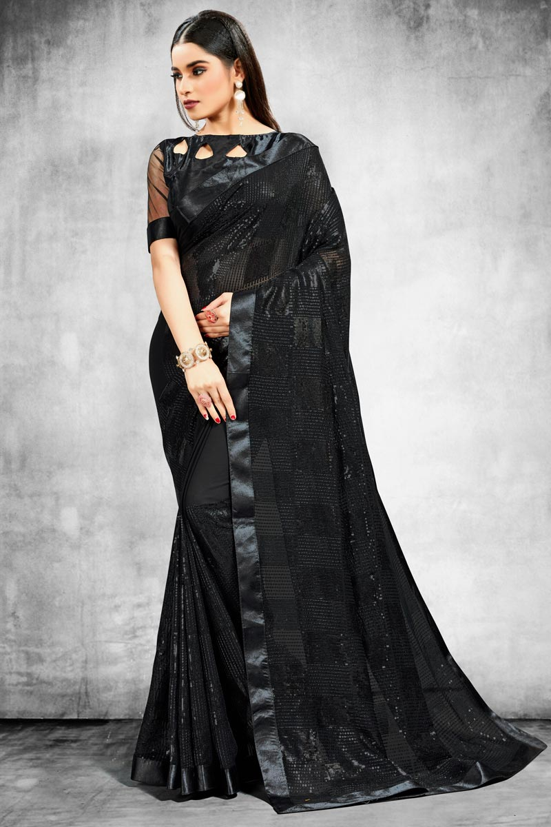 Georgette Fabric Black Color Trendy Wedding Wear Saree