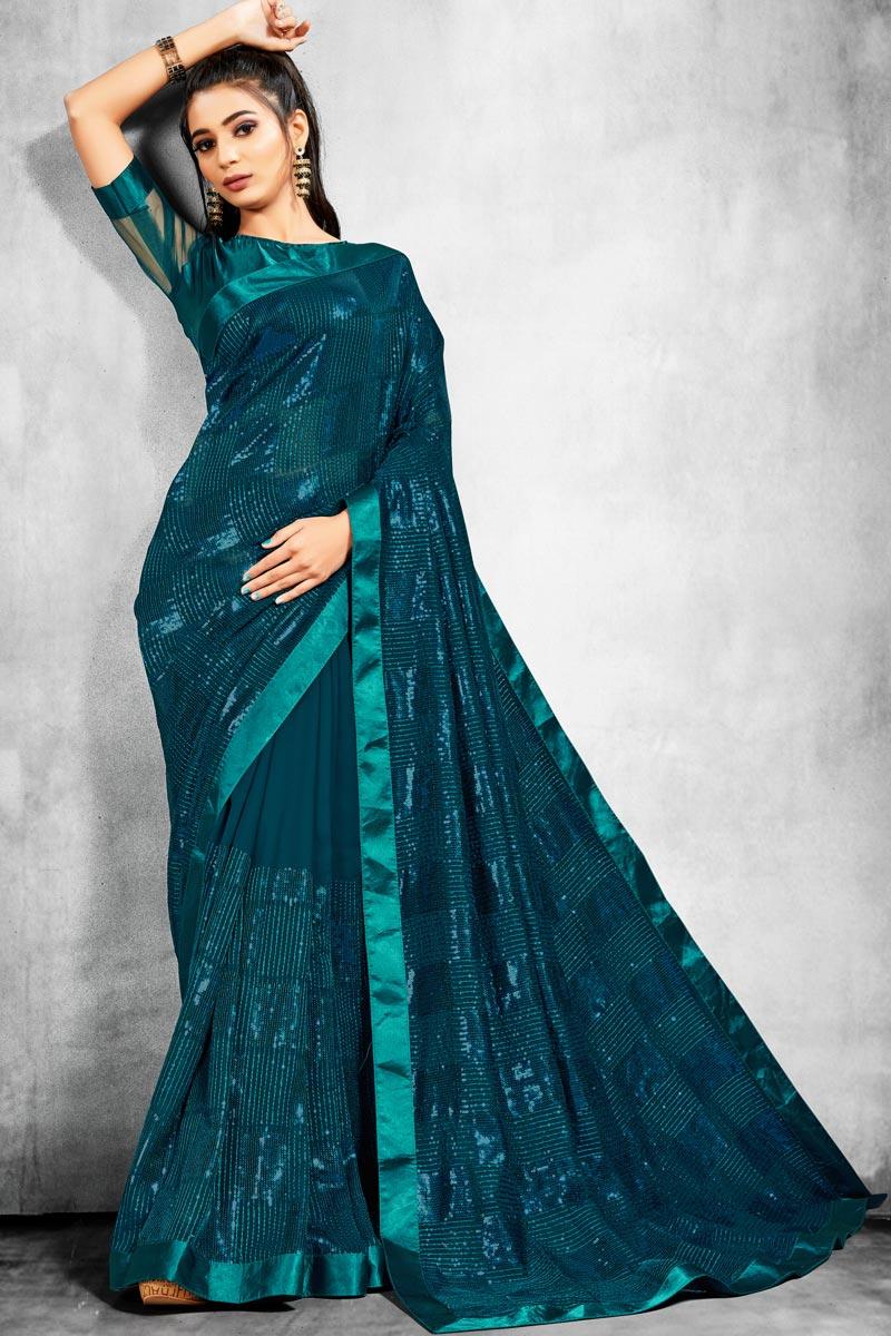 Designer Teal Color Georgette Fabric Reception Wear Saree