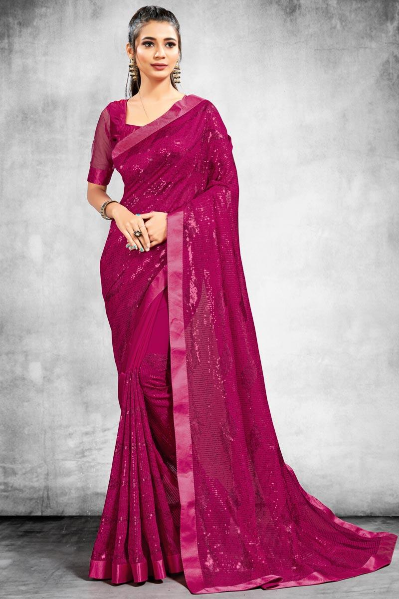 Georgette Fabric Fancy Sangeet Wear Saree