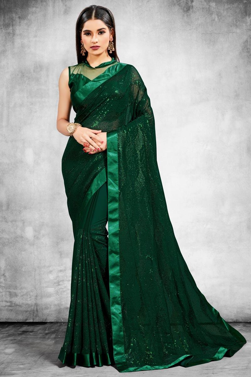 Georgette Fabric Stylish Wedding Wear Saree
