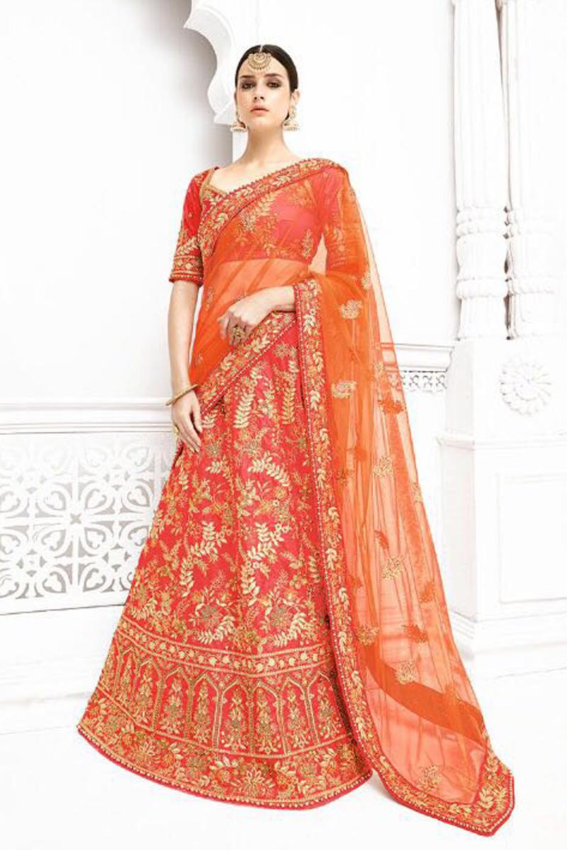Wedding Function Wear Red Color Fancy Embellished Lehenga