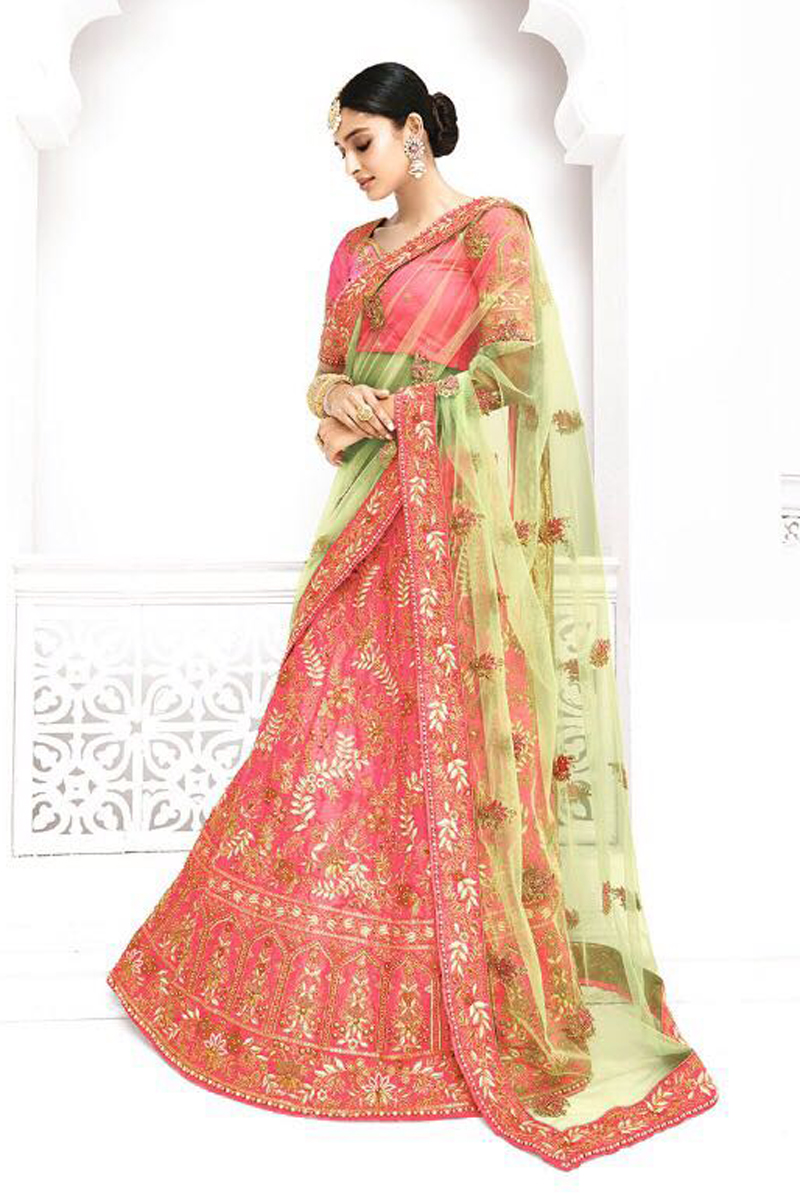 Festive Special Function Wear Fancy Pink Color Embroidered Lehenga