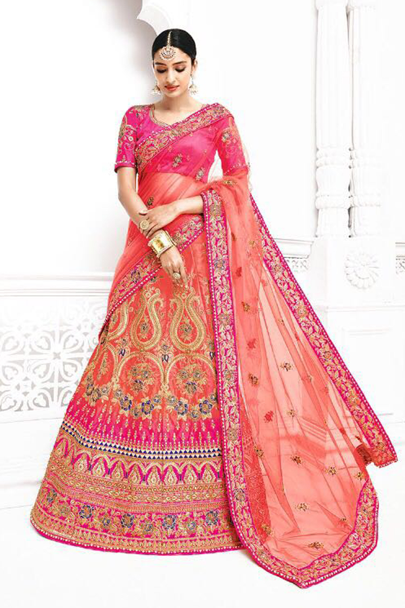 Festive Special Sangeet Function Wear Designer Pink Color Fancy Embroidered Lehenga