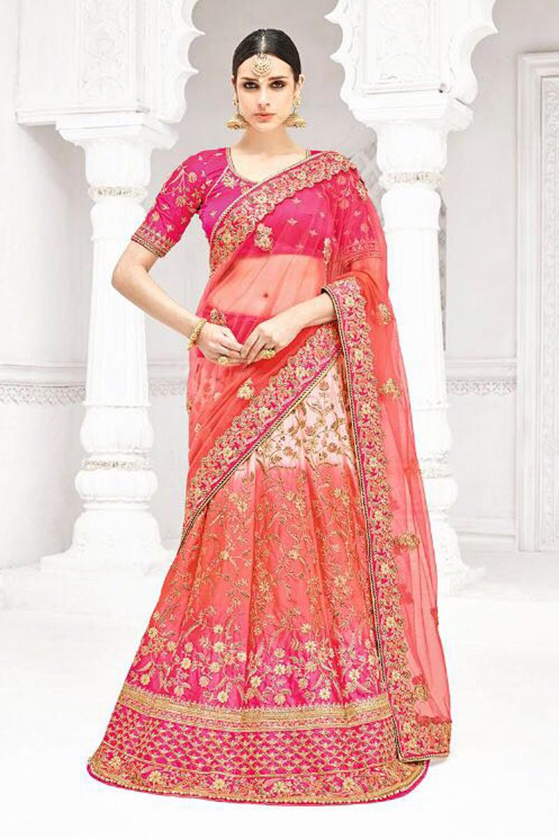 Festive Special Reception Wear Fancy Pink Color Embroidered Designer Lehenga