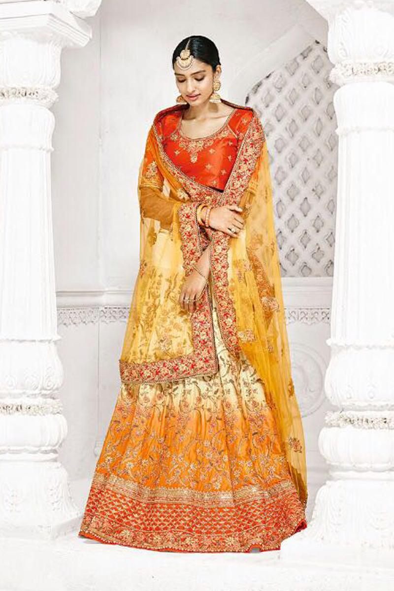 Festive Special Wedding Function Wear Cream And Mustard Color Designer Lehenga