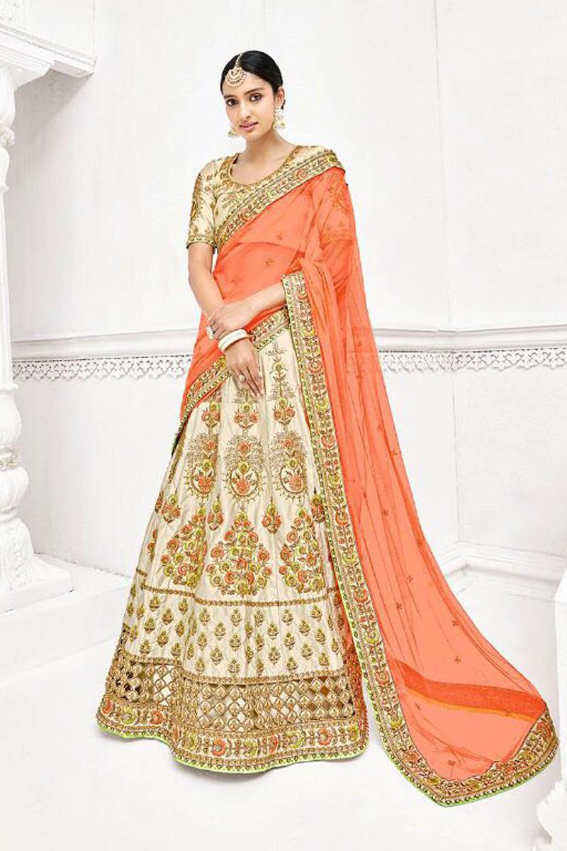 Sangeet Function Wear Designer Off White Color Fancy Embroidered Lehenga