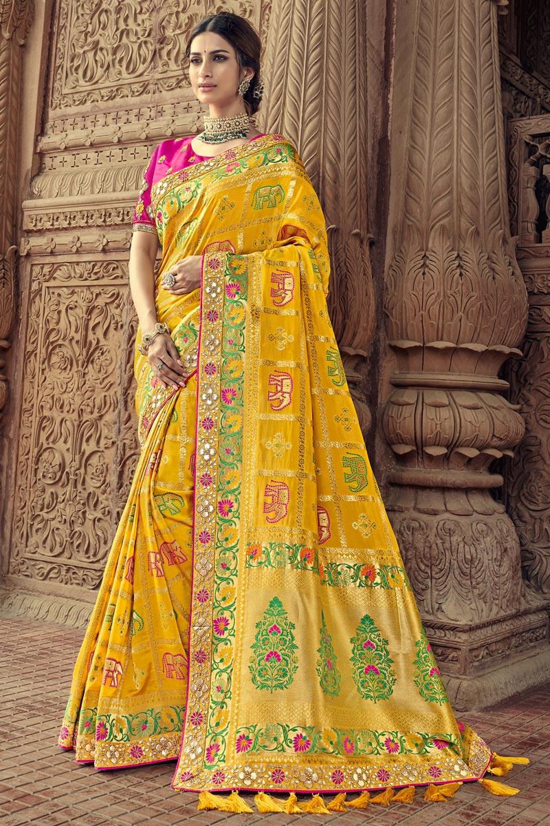 Yellow Art Silk Sangeet Function Wear Saree With Designer Blouse