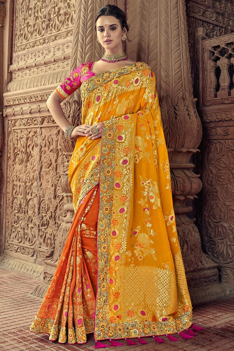 Sangeet Function Wear Art Silk Saree With Fancy Blouse In Orange