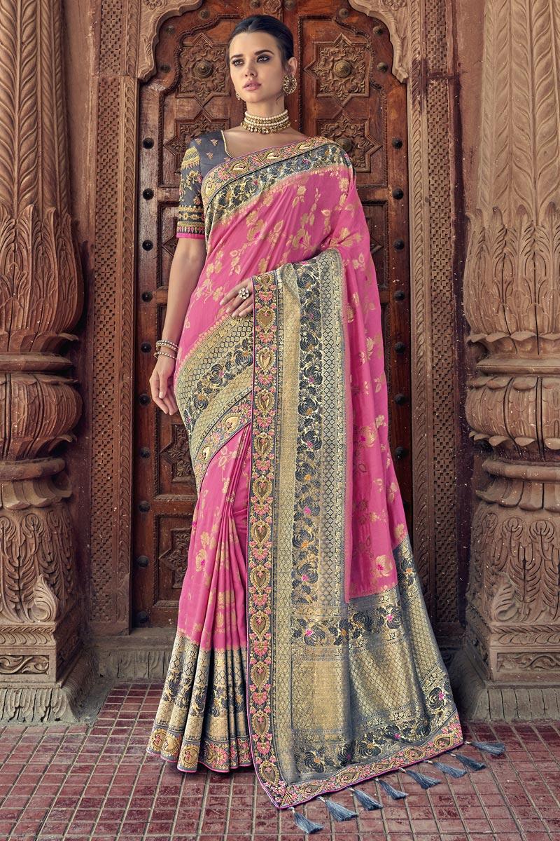 Sangeet Function Wear Art Silk Pink Saree With Fancy Blouse