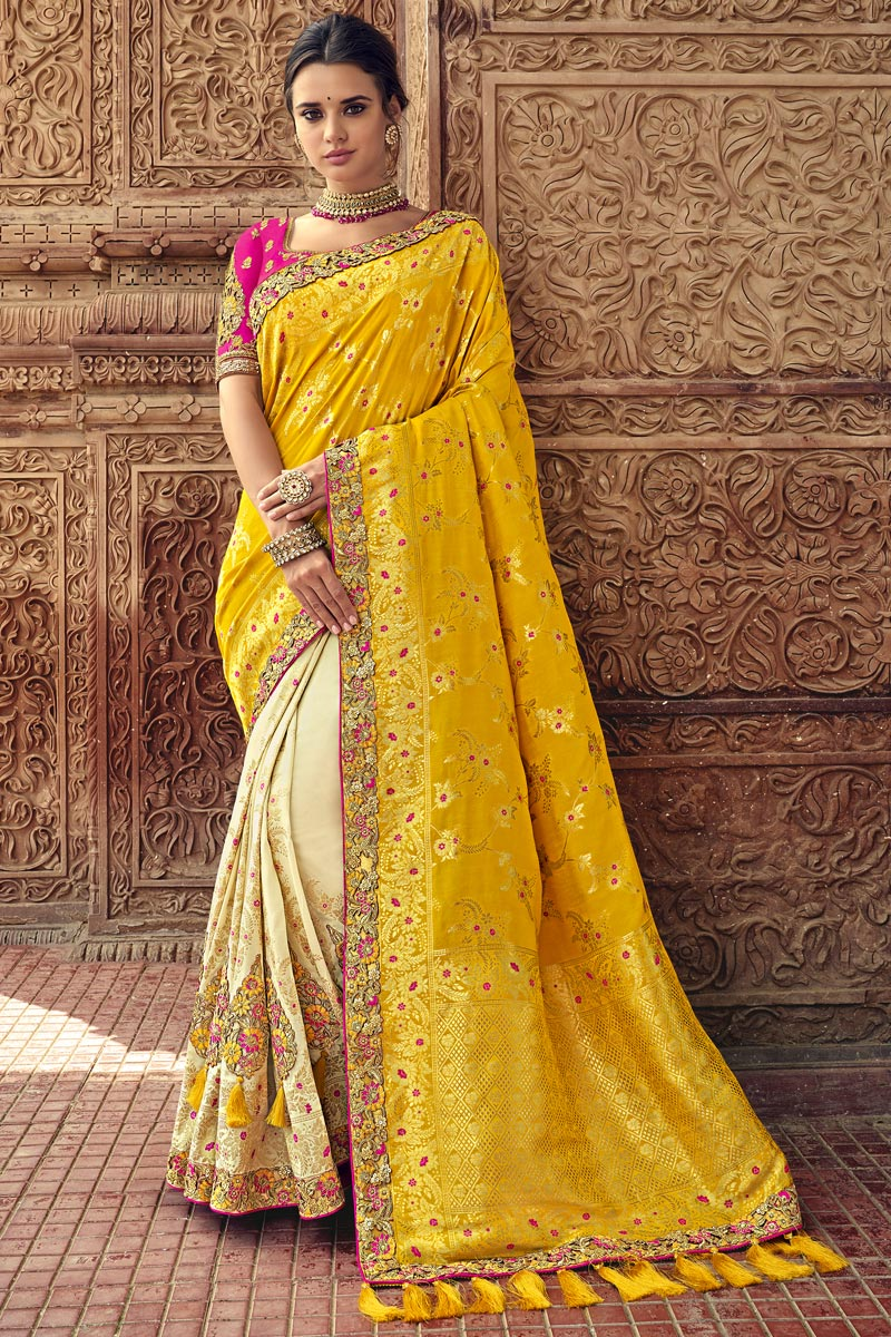 Art Silk Sangeet Function Wear Saree In Beige With Designer Blouse