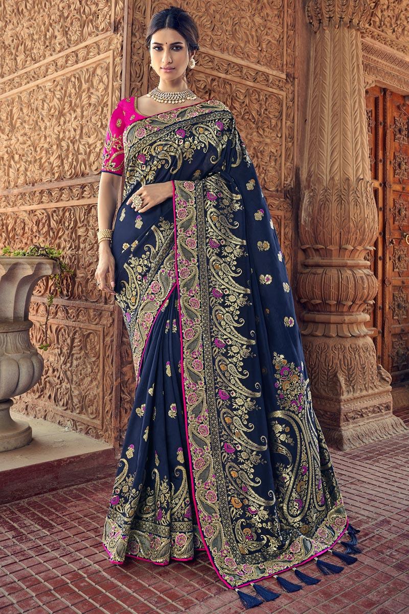 Art Silk Sangeet Function Wear Navy Blue Saree With Designer Blouse