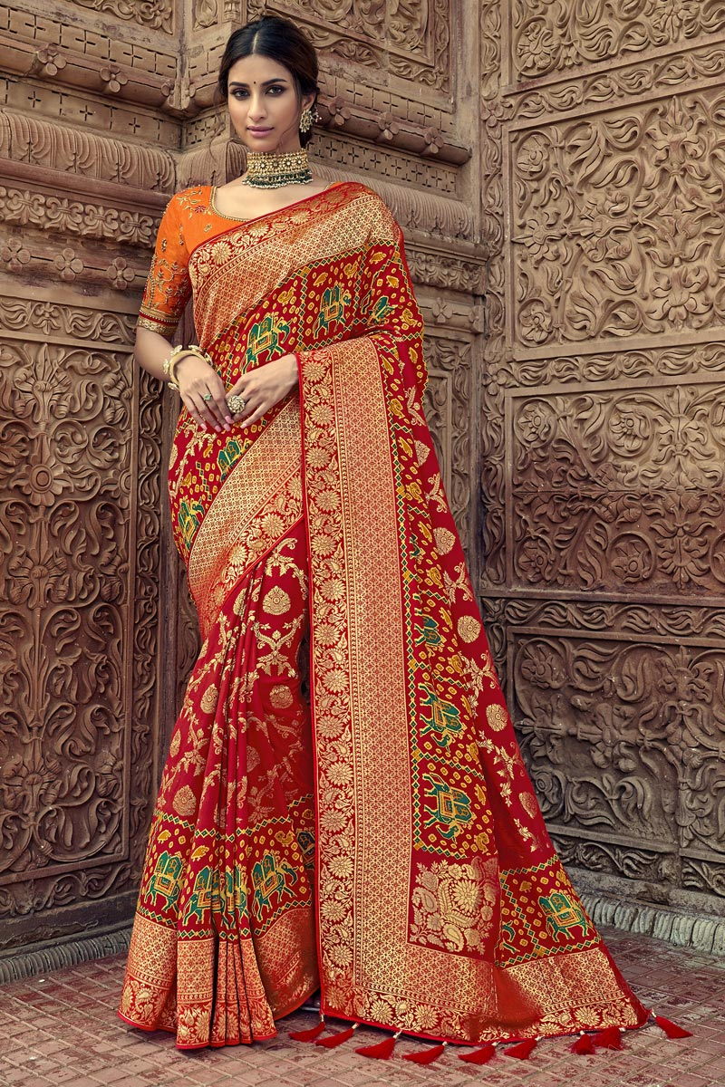 Sangeet Function Wear Art Silk Red Saree With Fancy Blouse