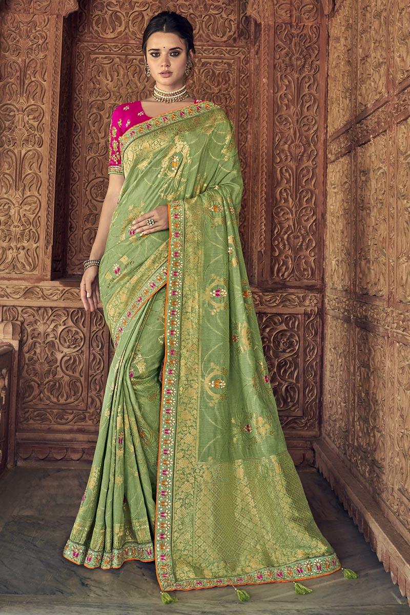 Sea Green Sangeet Function Wear Art Silk Saree With Designer Blouse