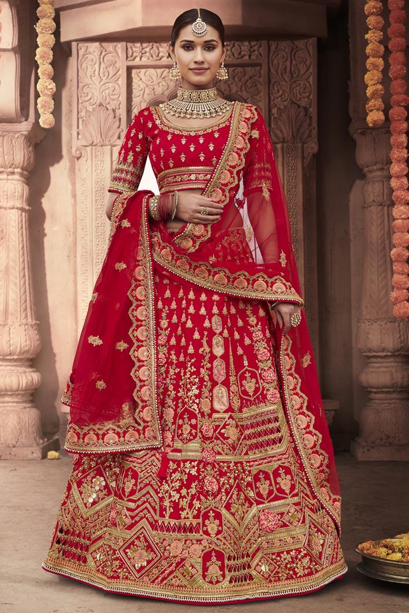 Wedding Function Wear Silk Fabric Embroidered Red Color Lehenga Choli