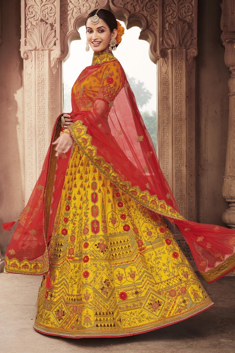 Yellow Color Wedding Function Wear Silk Fabric Embroidered Lehenga