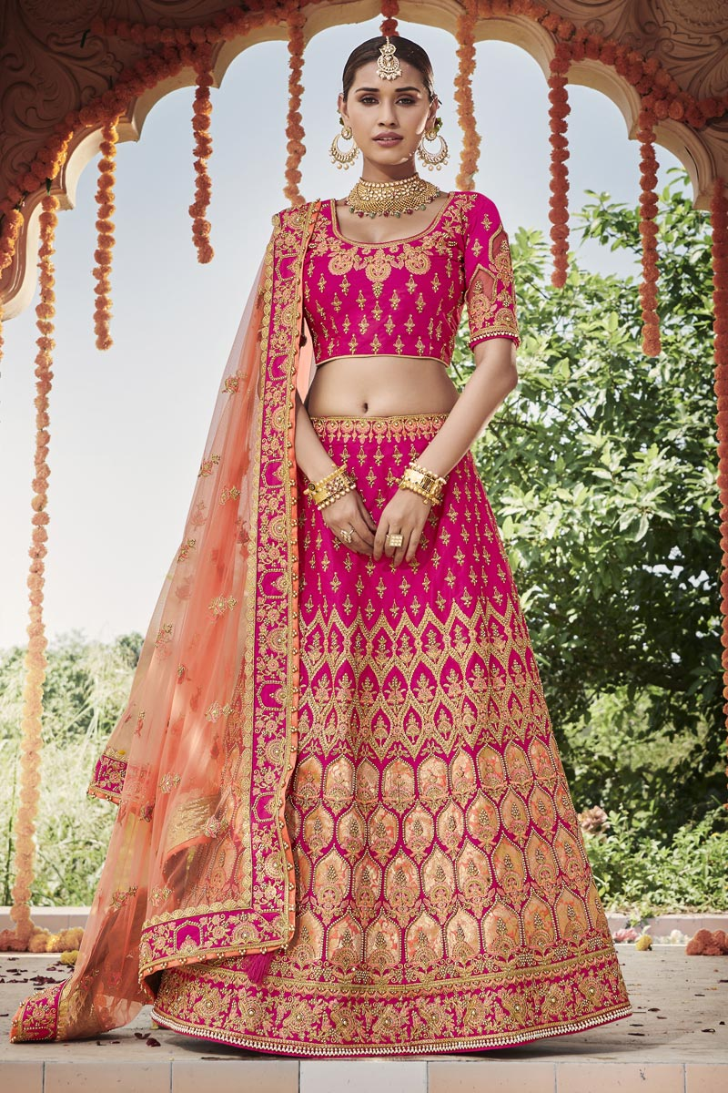 Wedding Function Wear Magenta Color Embroidered Silk Fabric Lehenga Choli