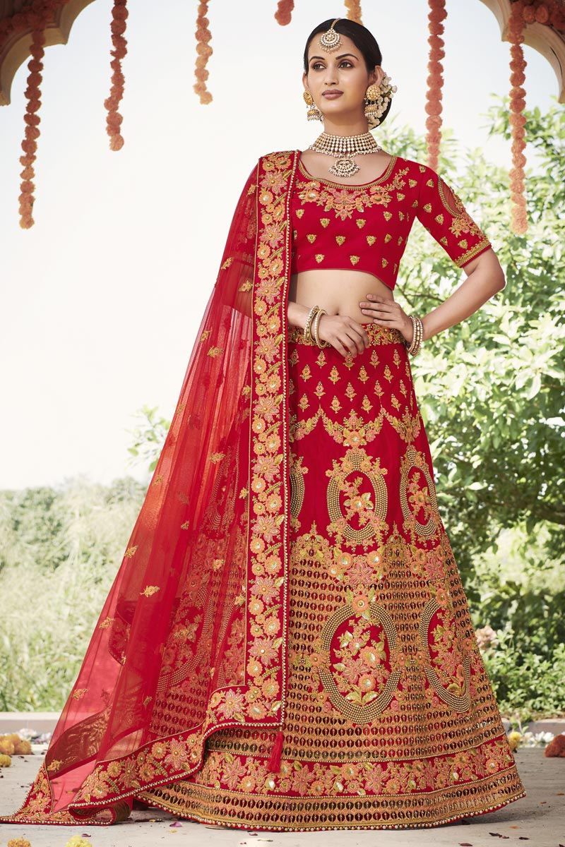 Silk Fabric Wedding Function Wear Embroidered Lehenga In Red Color