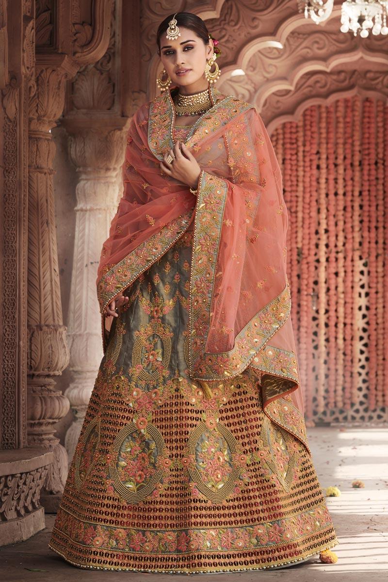 Silk Fabric Wedding Function Wear Grey Color Embroidered Lehenga Choli
