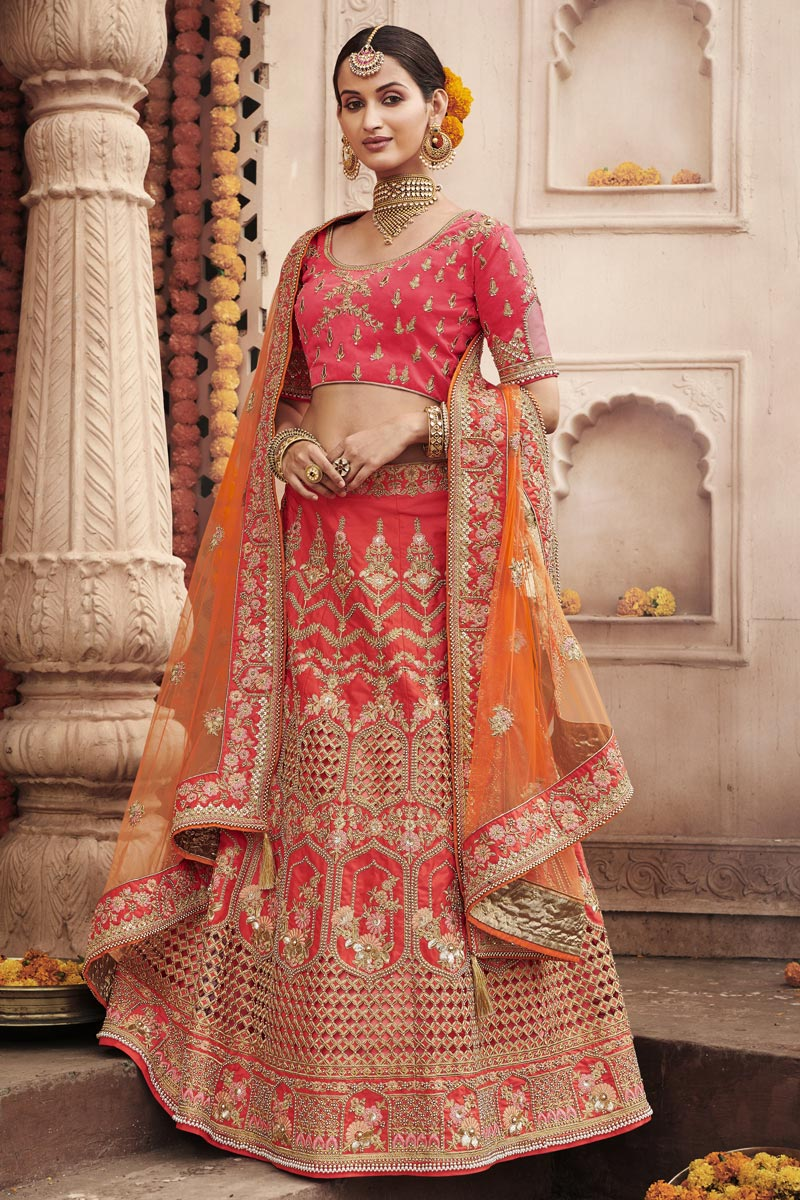 Wedding Function Wear Pink Color Embroidered Lehenga In Silk Fabric