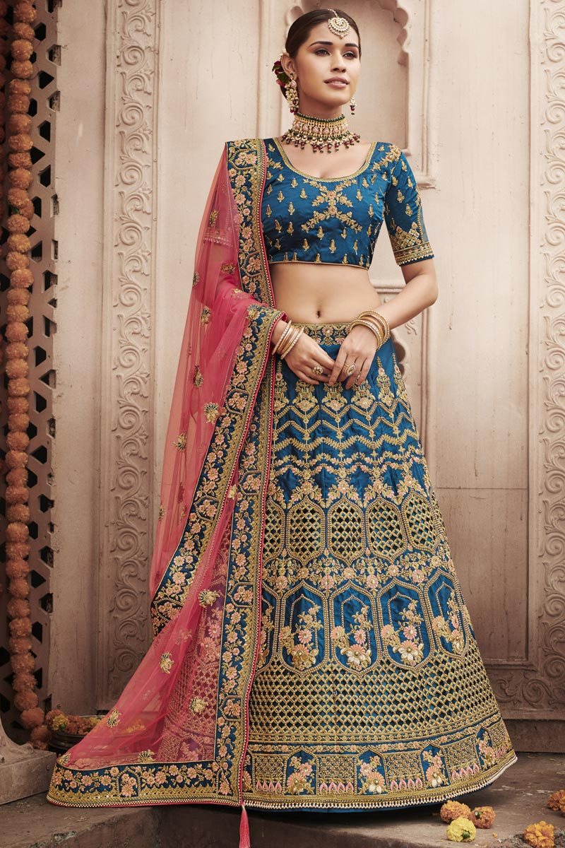 Wedding Function Wear Sky Blue Color Embroidered Lehenga Choli In Silk Fabric