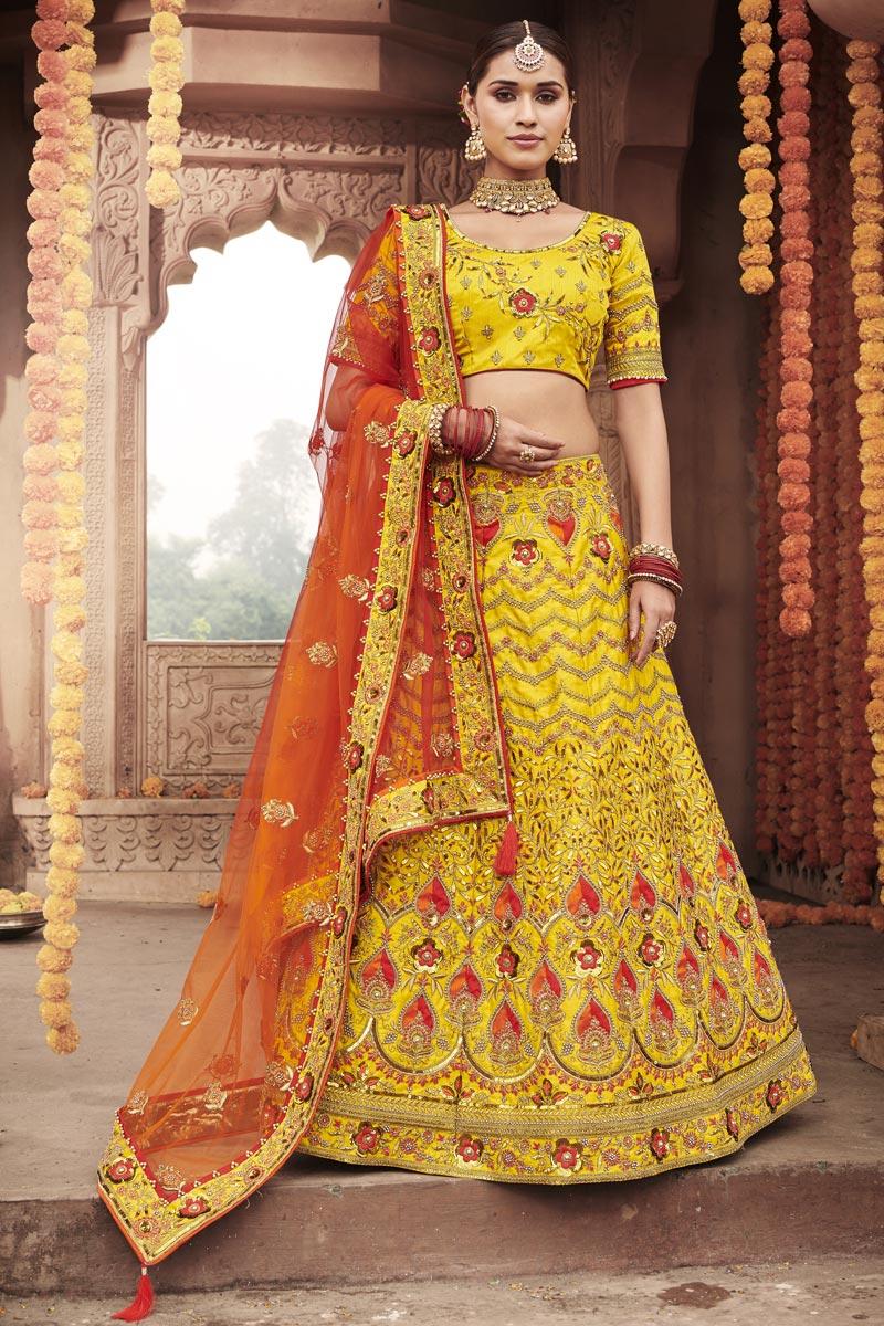Silk Fabric Wedding Function Wear Yellow Color Embroidered Lehenga