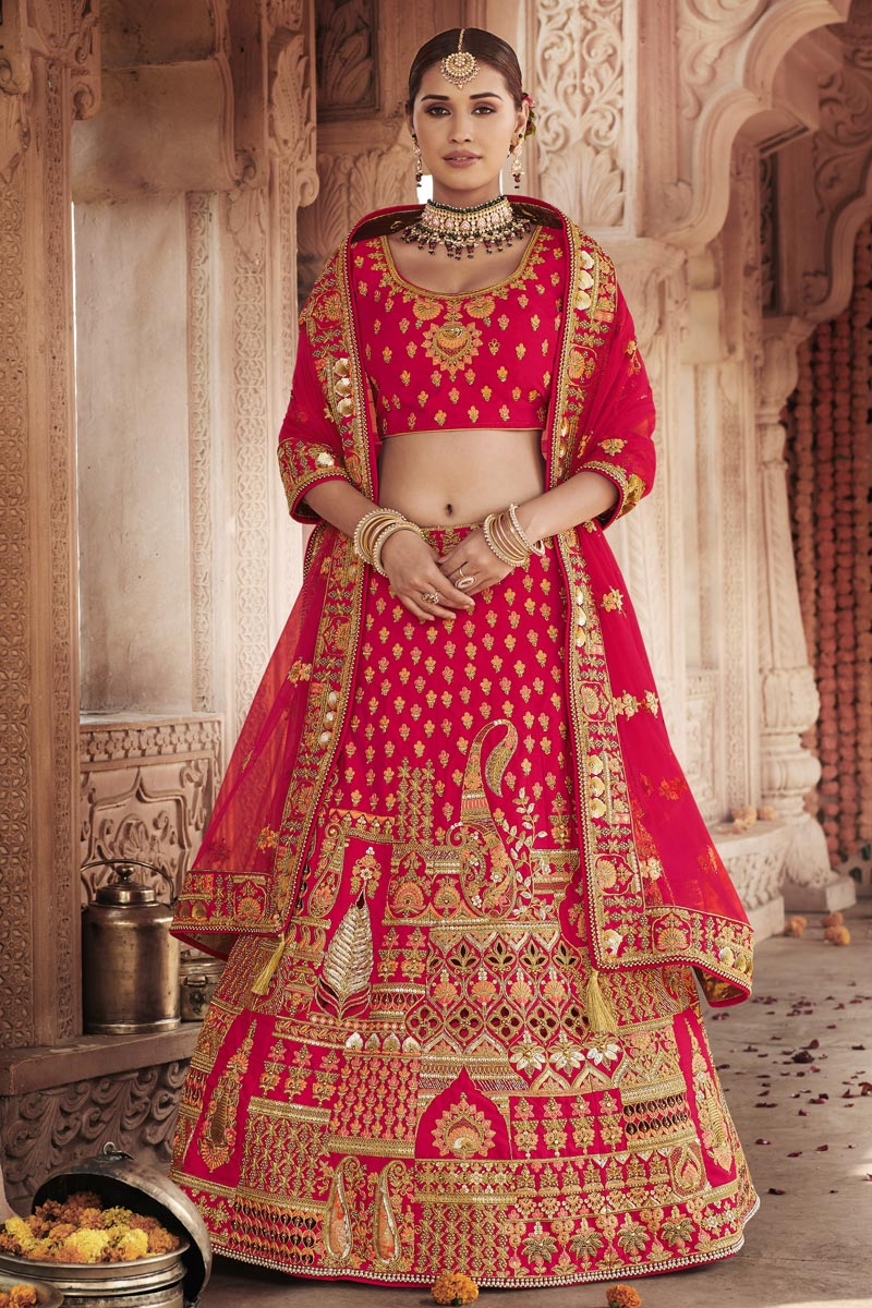 Wedding Function Wear Silk Fabric Embroidered Lehenga Choli In Red Color