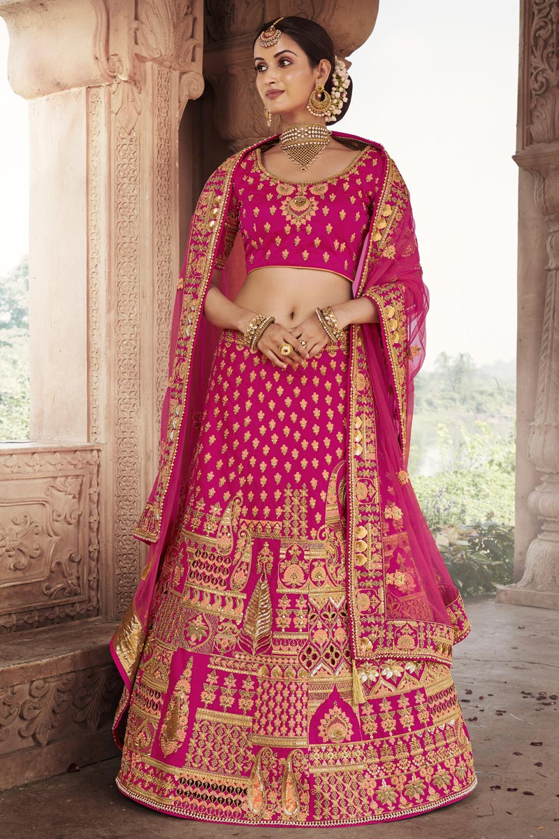 Magenta Color Wedding Function Wear Embroidered Lehenga In Silk Fabric