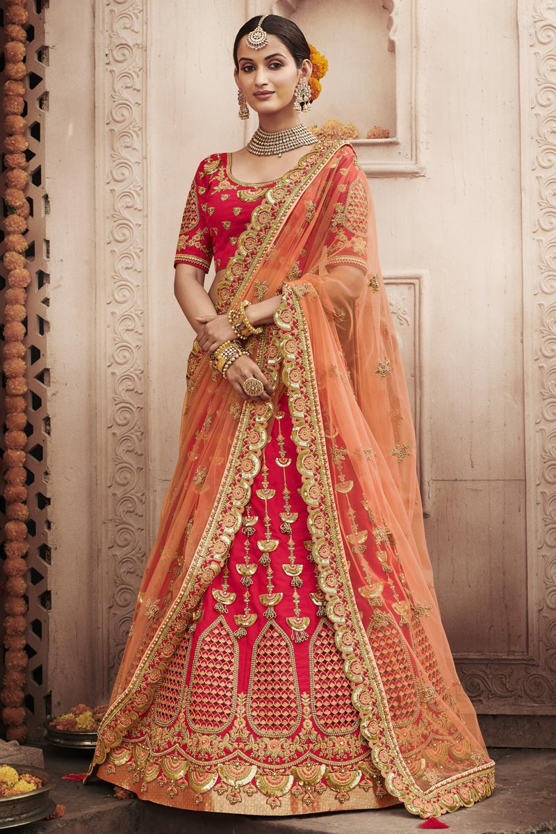 Red Color Wedding Function Wear Silk Fabric Embroidered Lehenga Choli