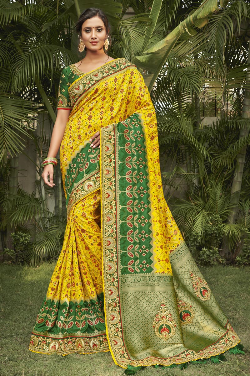 Yellow Color Wedding Wear Silk Fabric Fancy Saree With Embroidered Blouse