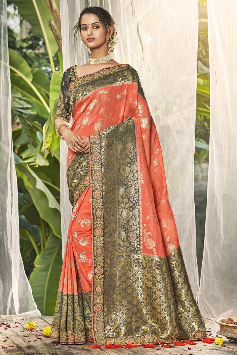 Wedding Wear Fancy Peach Color Saree With Embroidered Blouse In Silk Fabric