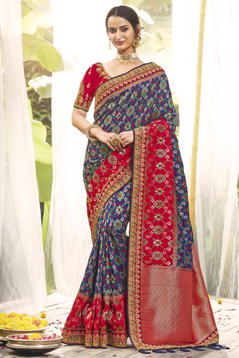 Wedding Wear Blue Color Fancy Silk Fabric Saree With Embroidered Blouse