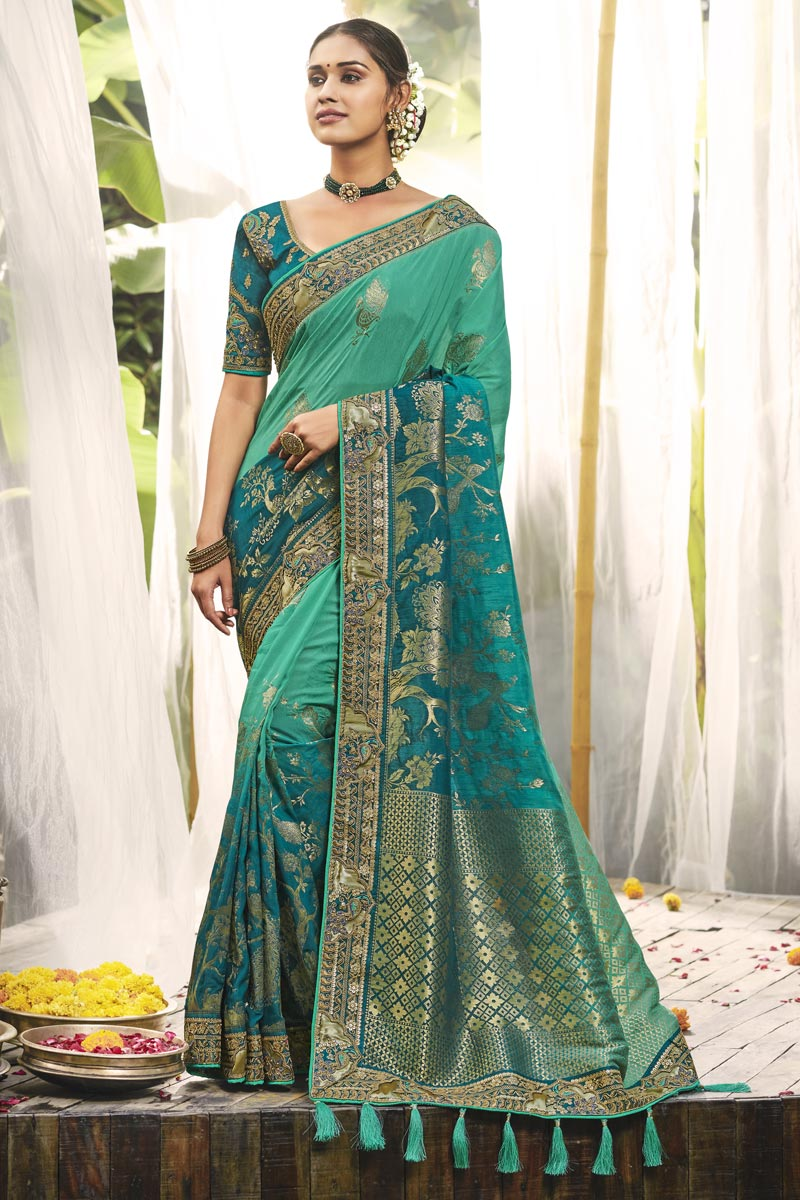 Wedding Wear Cyan Color Fancy Saree With Embroidered Blouse In Silk Fabric