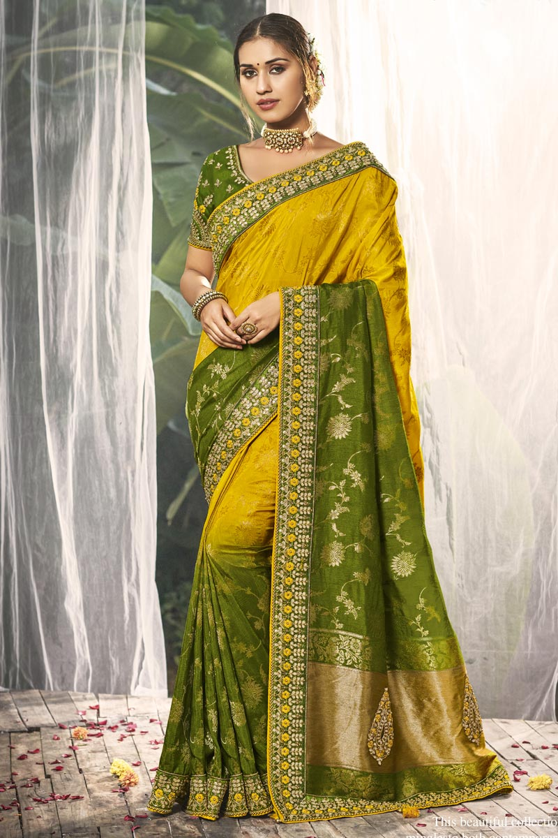 Yellow Color Fancy Wedding Wear Silk Fabric Saree With Embroidered Blouse