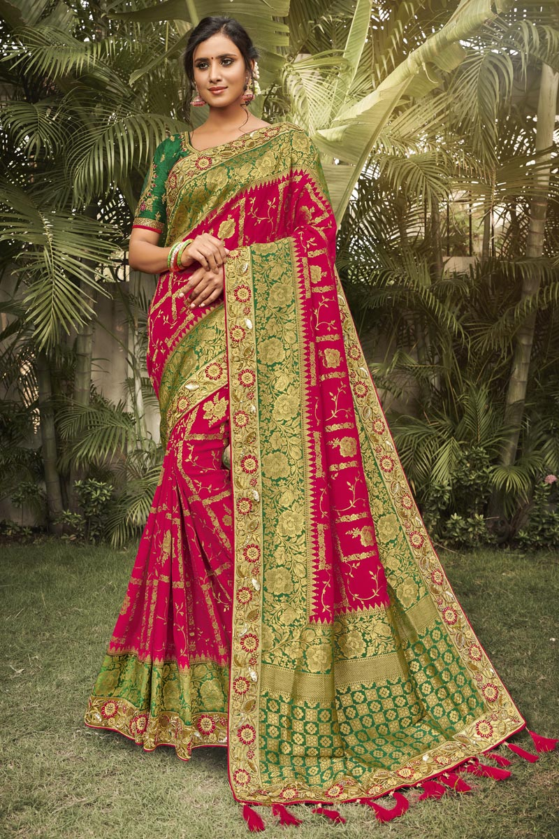 Wedding Wear Silk Fabric Fancy Red Color Saree With Embroidered Blouse