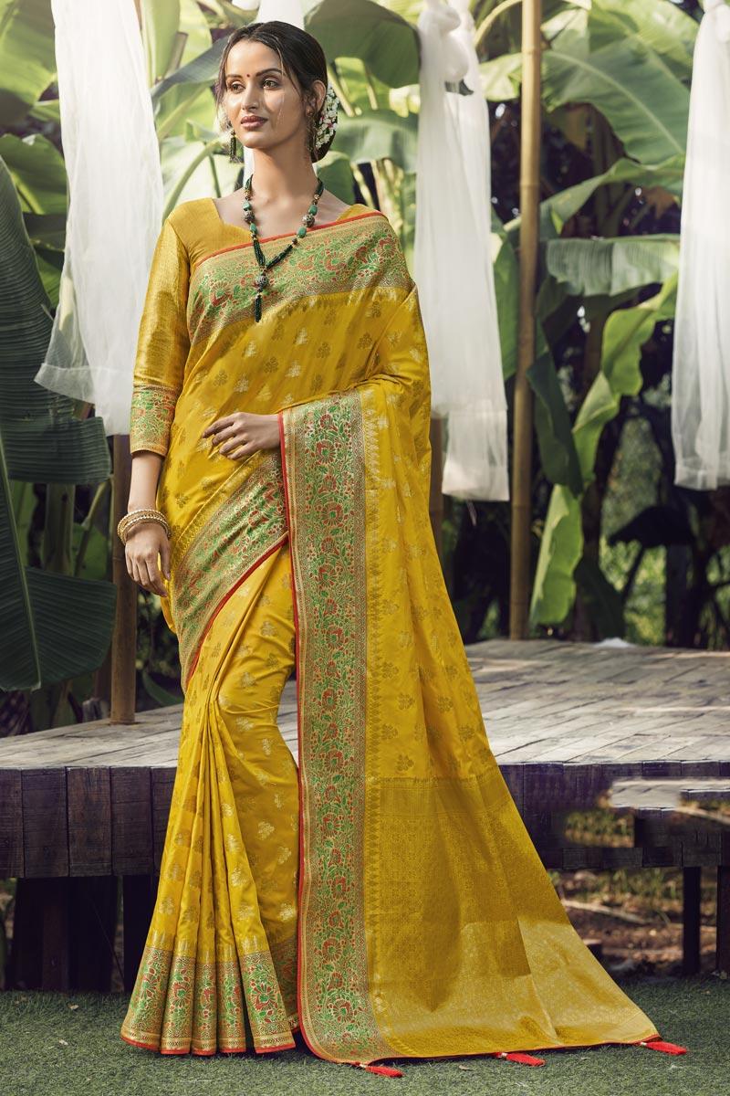 Art Silk Fabric Function Wear Yellow Color Weaving Work Saree