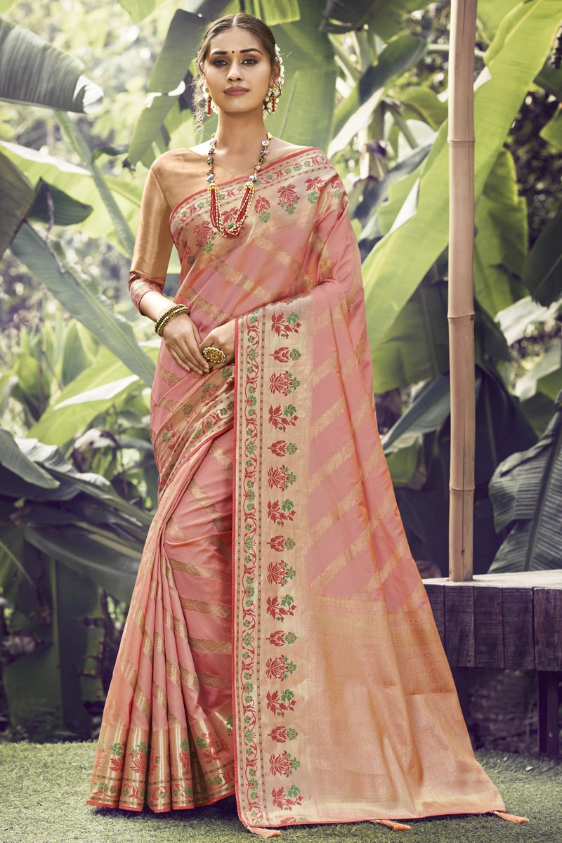 Pink Color Function Wear Art Silk Fabric Weaving Work Saree