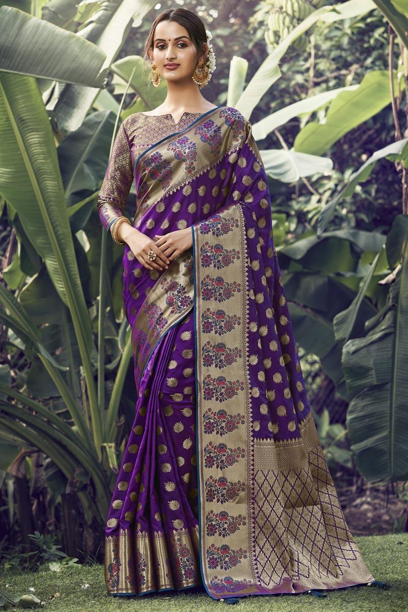 Art Silk Fabric Festive Wear Purple Color Weaving Work Saree